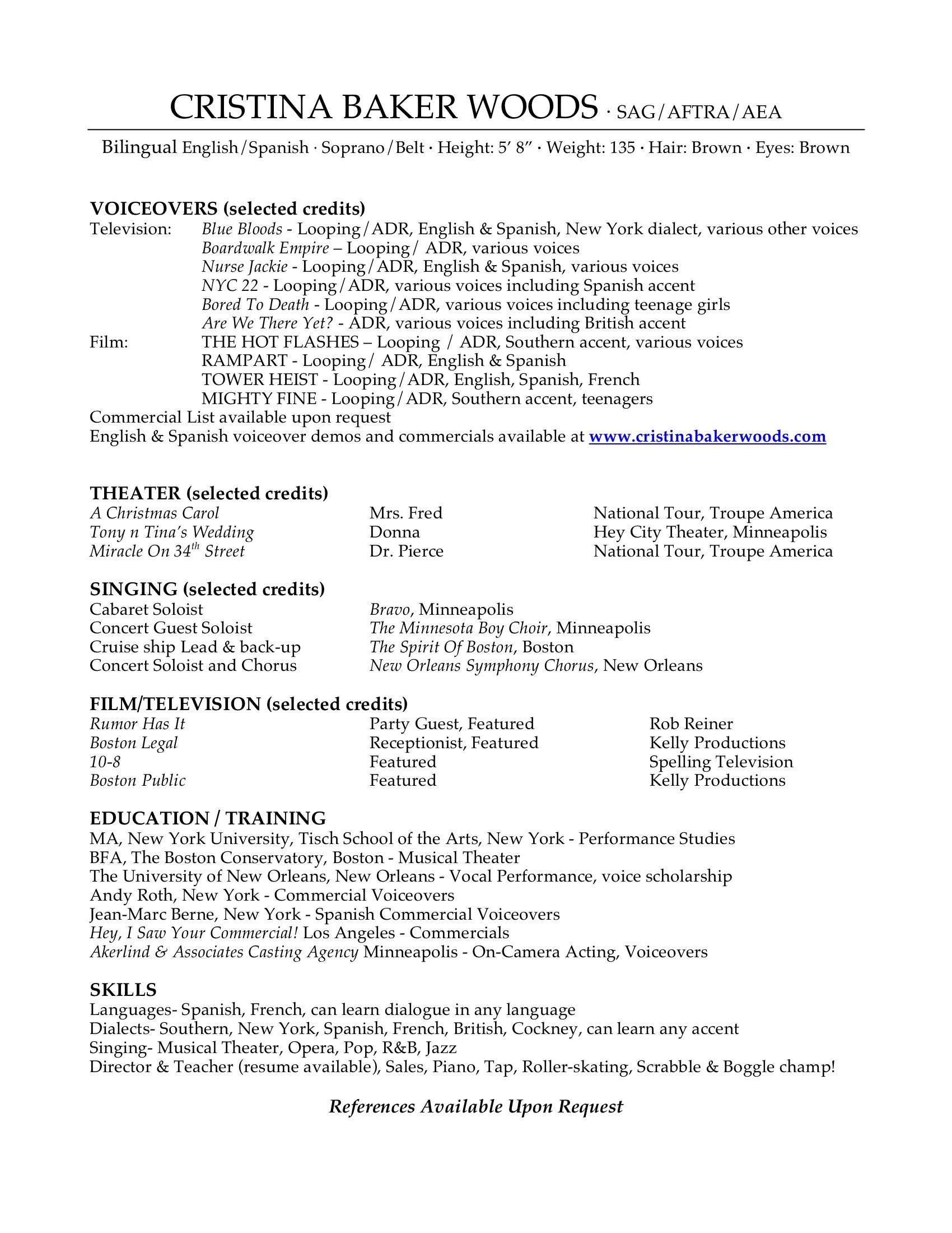 voiceover acting singing resume cristina baker woods