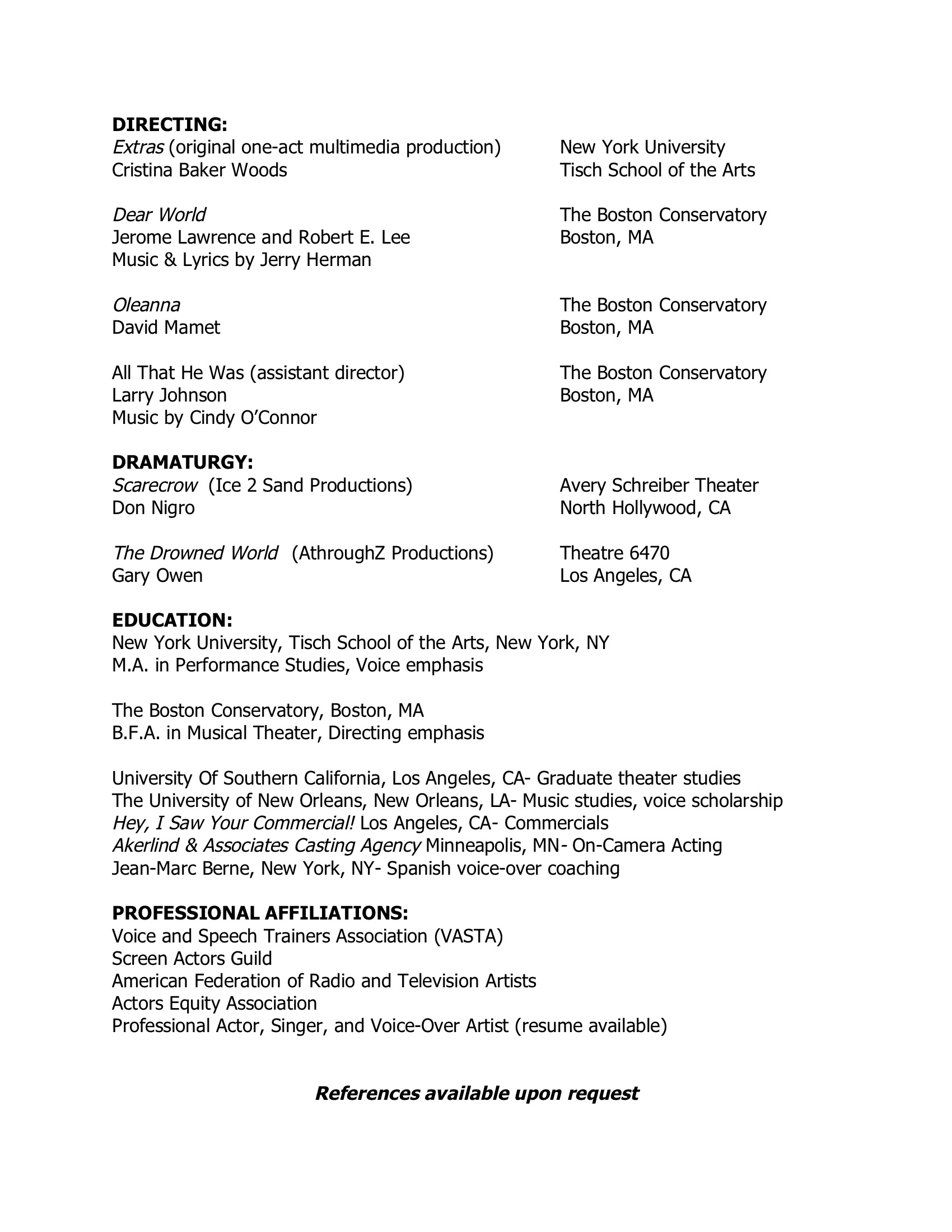 teaching  directing resume