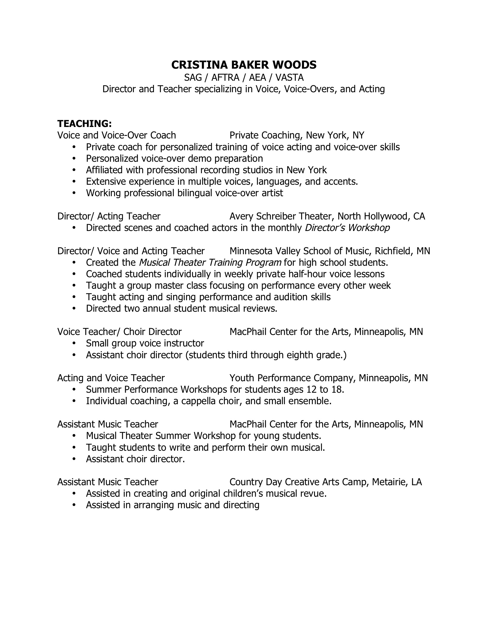 Teaching/Directing Resume | Cristina Baker Woods