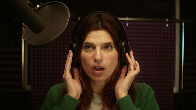 Lake Bell in the recording studio (in a scene from the movie IN A WORLD)
